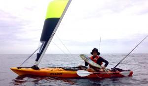 Bamba kayak with sail
